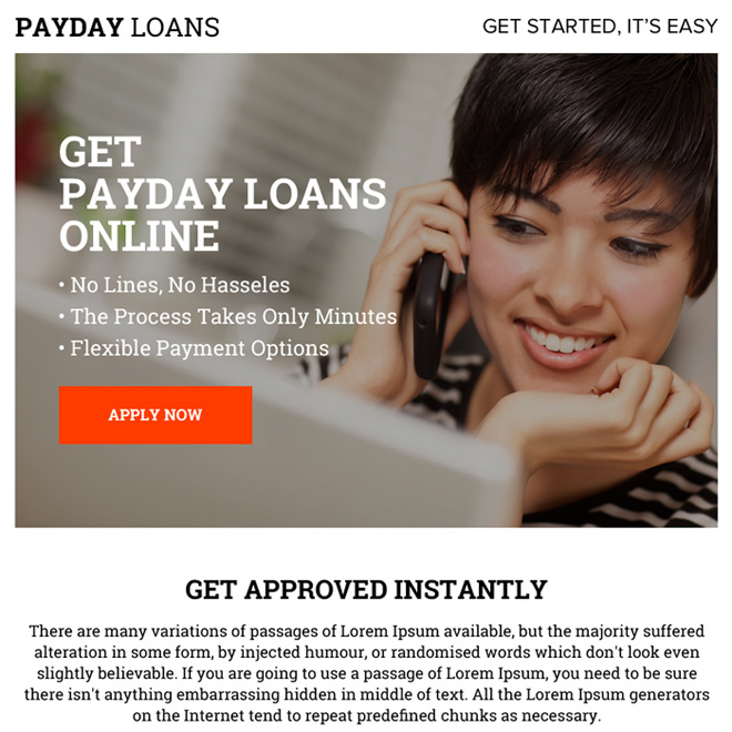 payday loan online ppv landing page design Payday Loan example