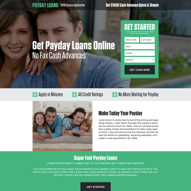 get payday loan online lead generating landing page design Payday Loan example
