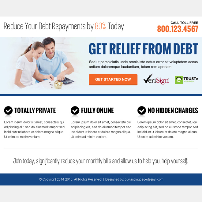 get relief from debt call to action ppv landing page Debt example