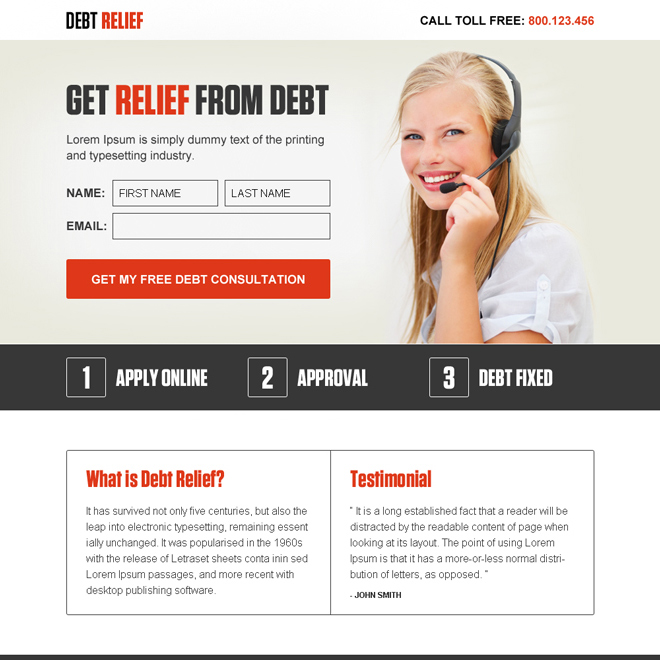 get relief from debt lead gen ppv landing page design Debt example