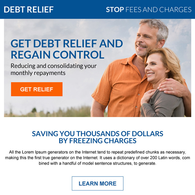 debt relief consolidation ppv landing page design Debt example