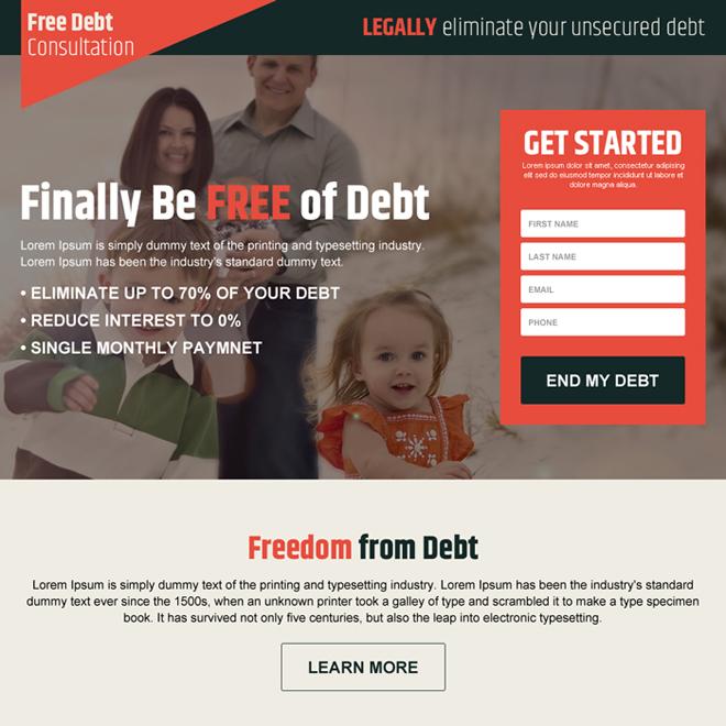 responsive debt free lead gen landing page design Debt example