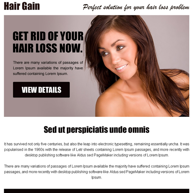 hair gain perfect solution call to action ppv landing page design Hair Loss example