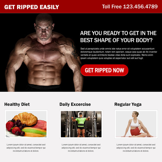get in the best shape of your body with expertise training and healthy diet call to action landing page Bodybuilding example