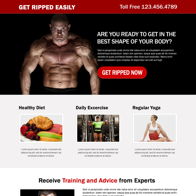 get ripped easily responsive bodybuilding cta landing page Bodybuilding example