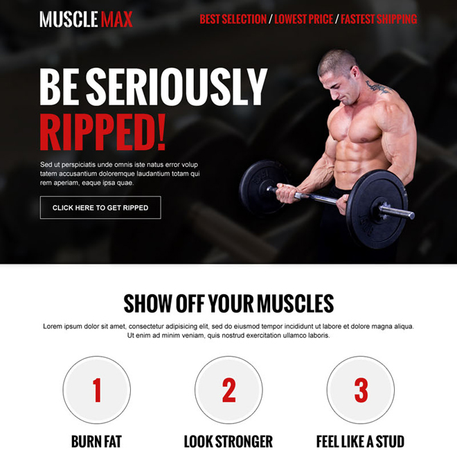 get seriously ripped clean and converting body building call to action landing page design Bodybuilding example