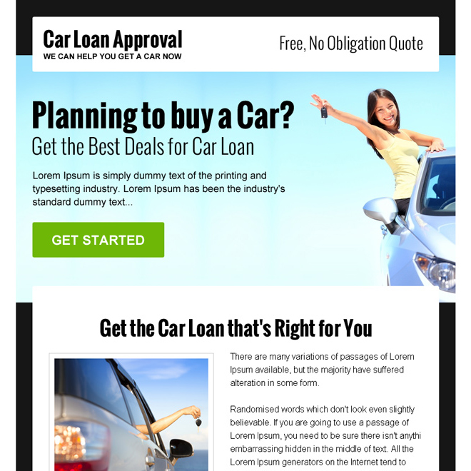 get the best deals for car loan ppv landing page design Auto Finance example