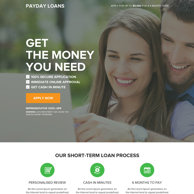 payday loan online pay per click responsive landing page Payday Loan example