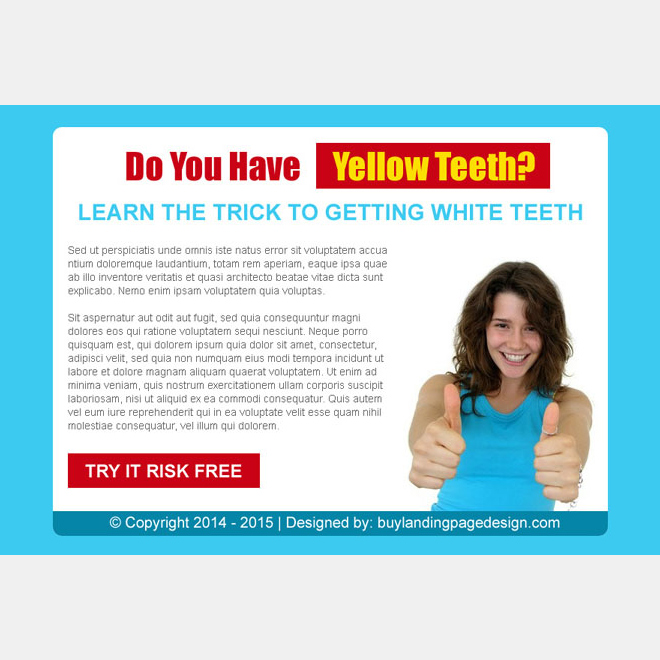 trick to getting white teeth risk free trial call to action ppv lander design Teeth Whitening example