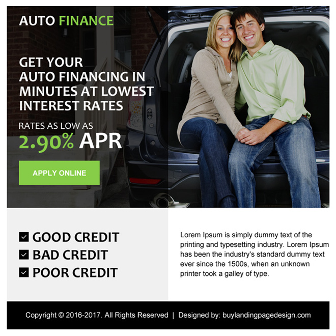 simple auto finance ppv landing page design Auto Finance example
