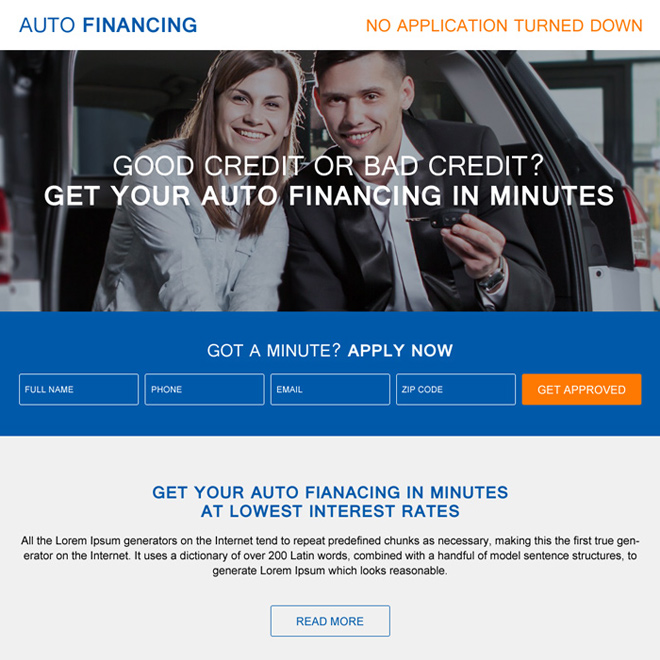 get your auto financing in minutes responsive landing page Auto Financing example