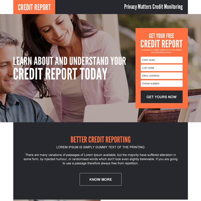 better and accurate credit report landing page design Credit Report example