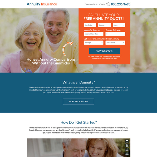 free annuity insurance quote lead capturing landing page design Retirement Planning example