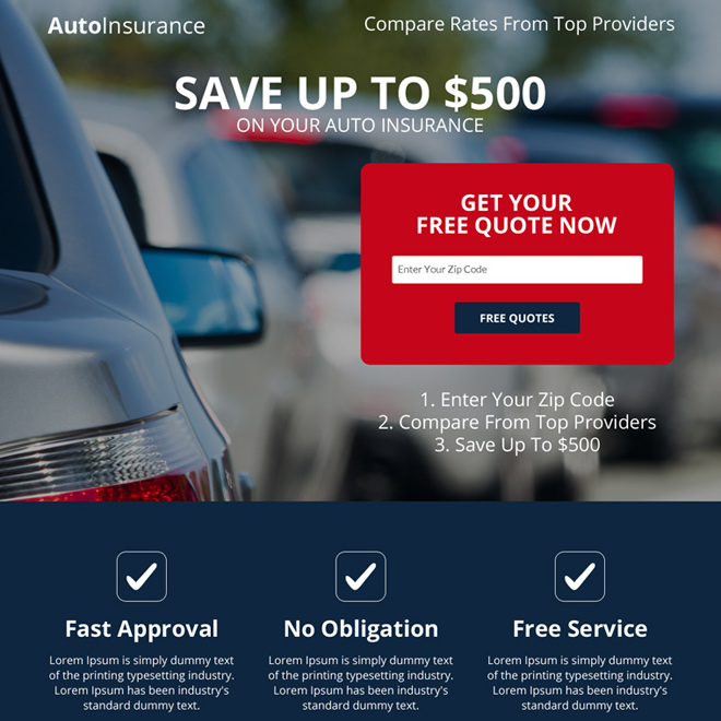 free auto insurance appealing landing page design Auto Insurance example