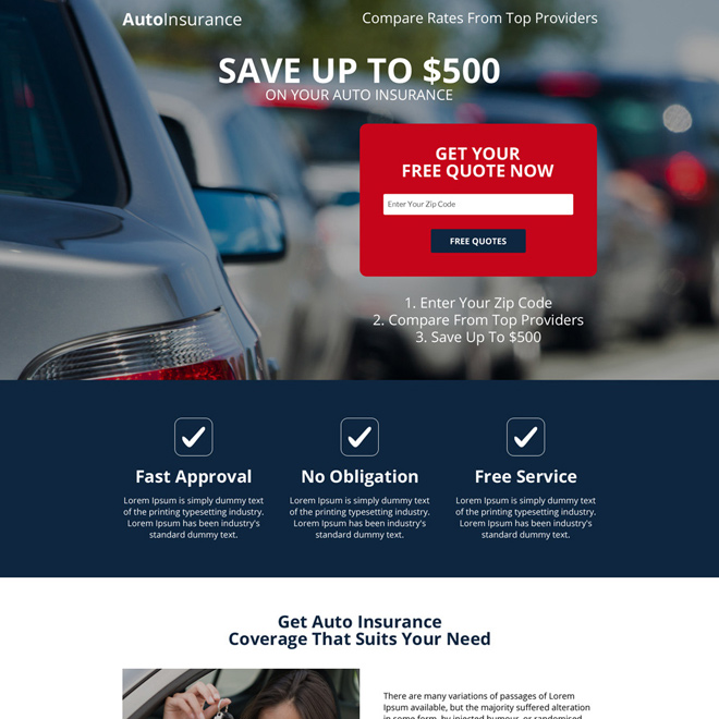 responsive auto insurance free quote capturing landing page Auto Insurance example