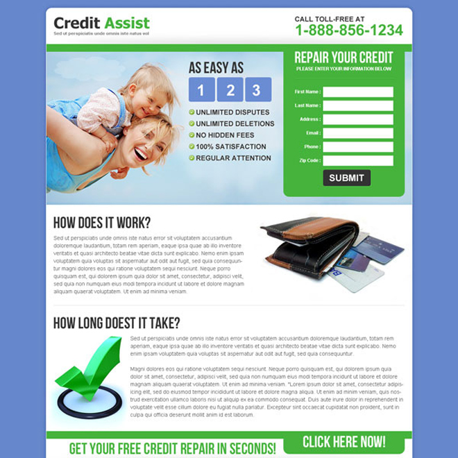 credit assist repair your credit lead gen landing page template Credit Repair example