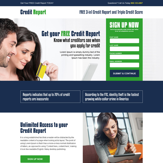 get your free credit report score responsive landing page design Credit Report example