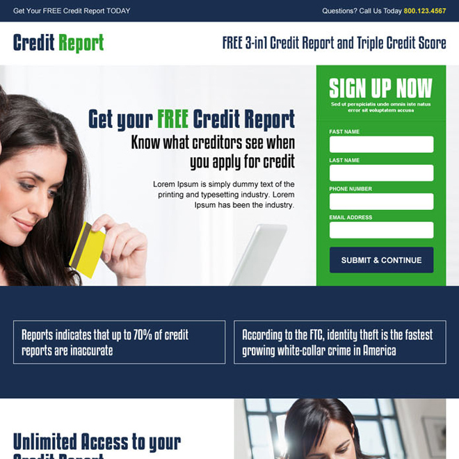 get your free credit report lead generation landing page design Credit Report example