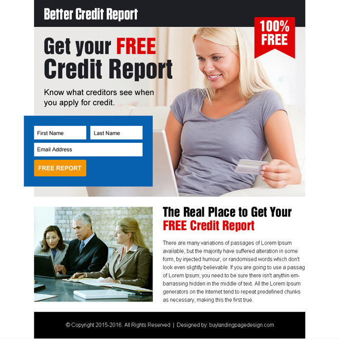 get your free credit report lead gen ppv landing page design Credit Report example