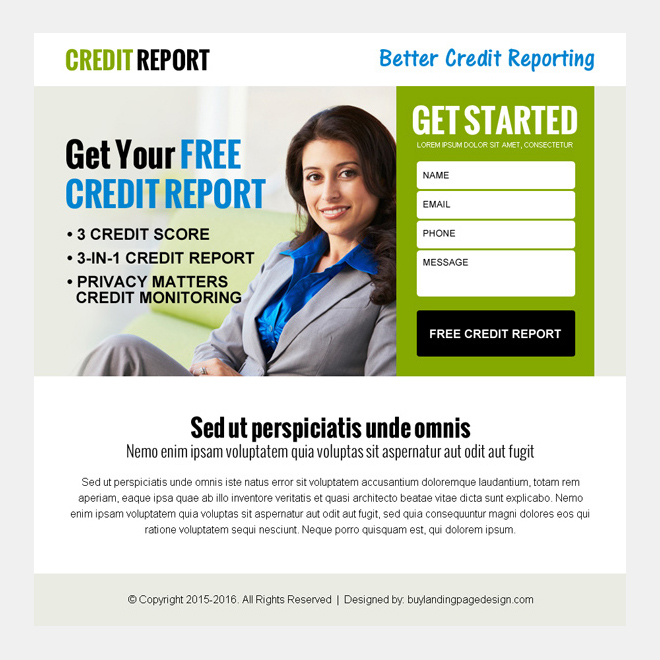 get your free credit report lead capture ppv landing page design Credit Report example
