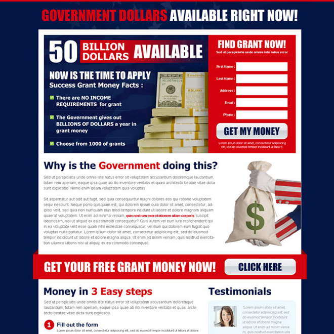 find government grant now most converting lead capture squeeze page design Government Grants example