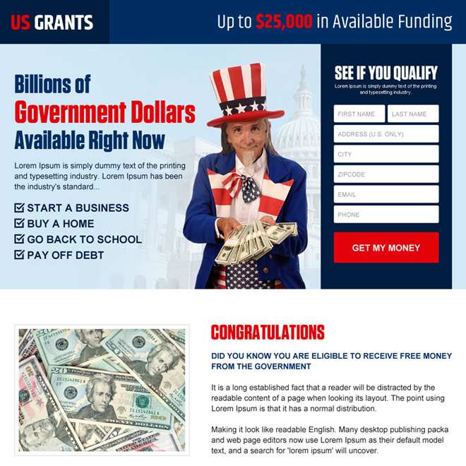 get your government grants money lead gen landing page Government Grants example