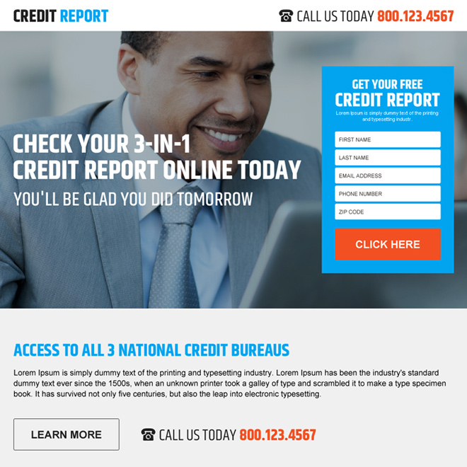 free credit score rating lead form landing page design Credit Report example