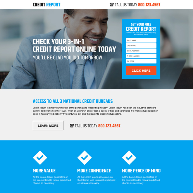 responsive credit report lead generating landing page Credit Report example