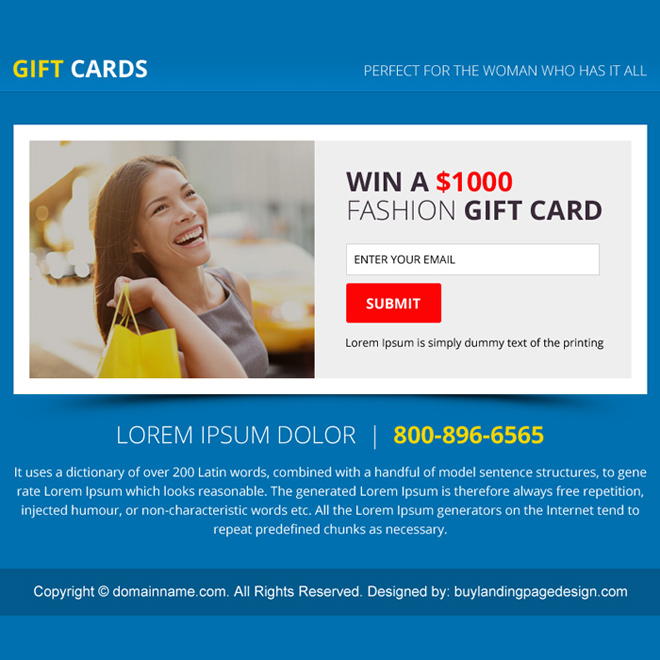 gift card email capturing PPV design Coupons example
