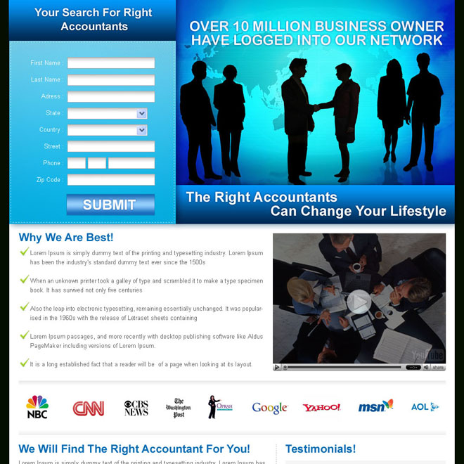 global business lead capture landing page design for sale Business Opportunity example