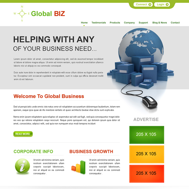 global business opportunity clean website template psd for sale Website Template PSD example