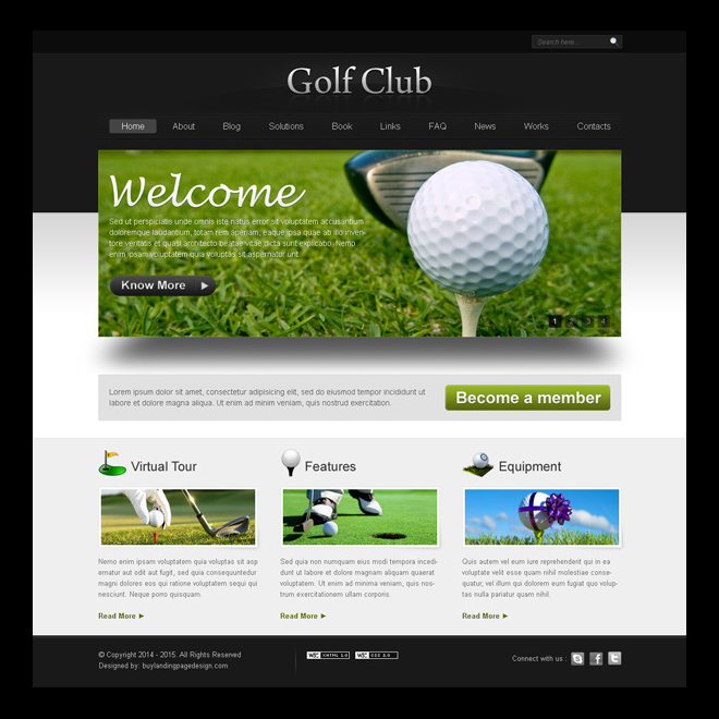 golf club website template design psd Website Template PSD example