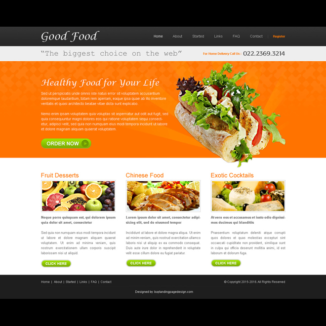 good food website template design psd Website Template PSD example