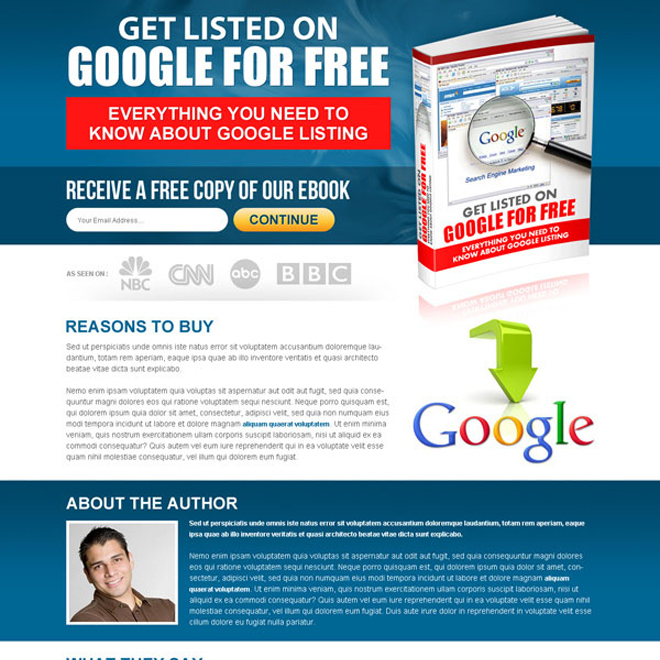 get listed on google for free ebook lead capturing landing page template Ebook example