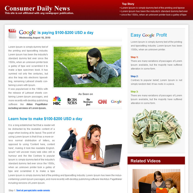 easy google profit daily news minimal effective and converting landing page Flogs example