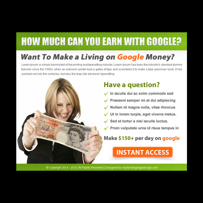 make a living with google money call to action ppv landing page design PPV Landing Page example