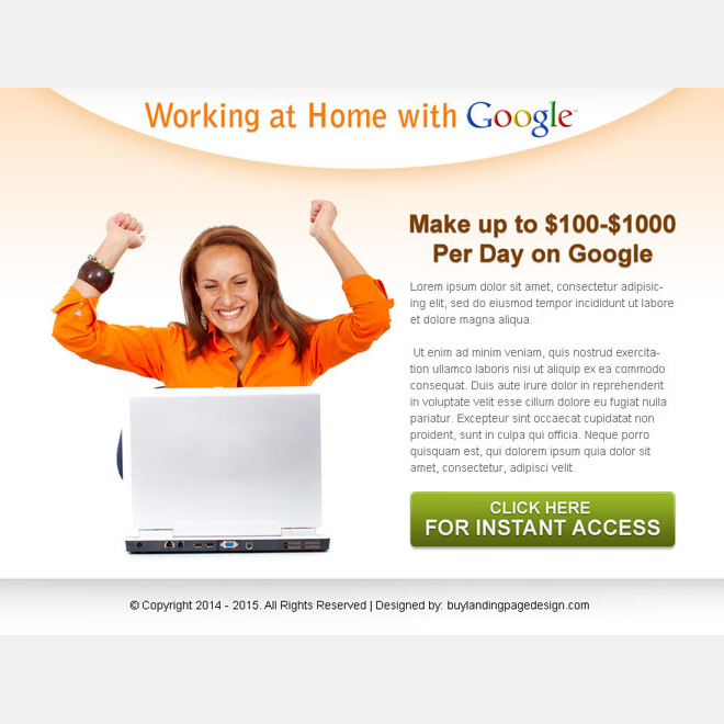 work from home with google ppv landing page design template Google Money example