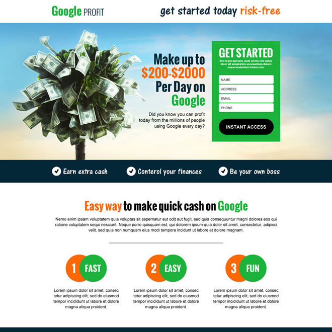 google money in cash responsive landing page design template Google Money example