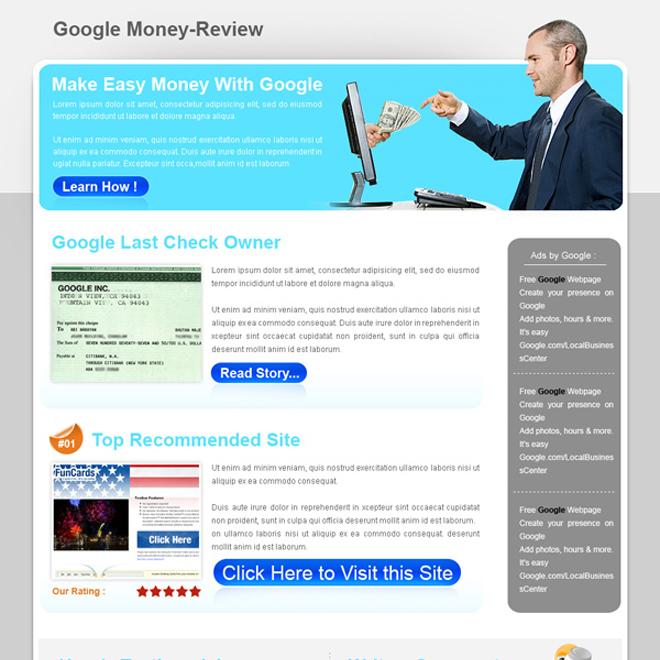 best google money review type html landing page design template Landing Page Design example
