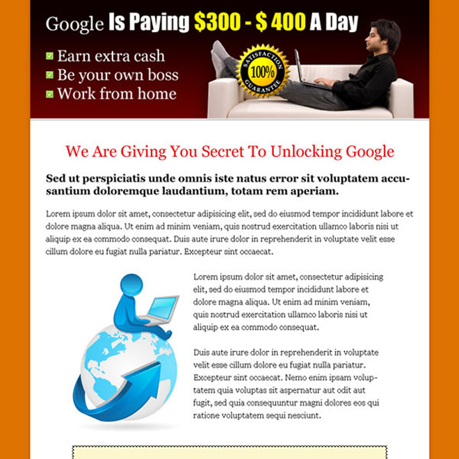 earn money with google long sales page click to action landing page Sales Page example