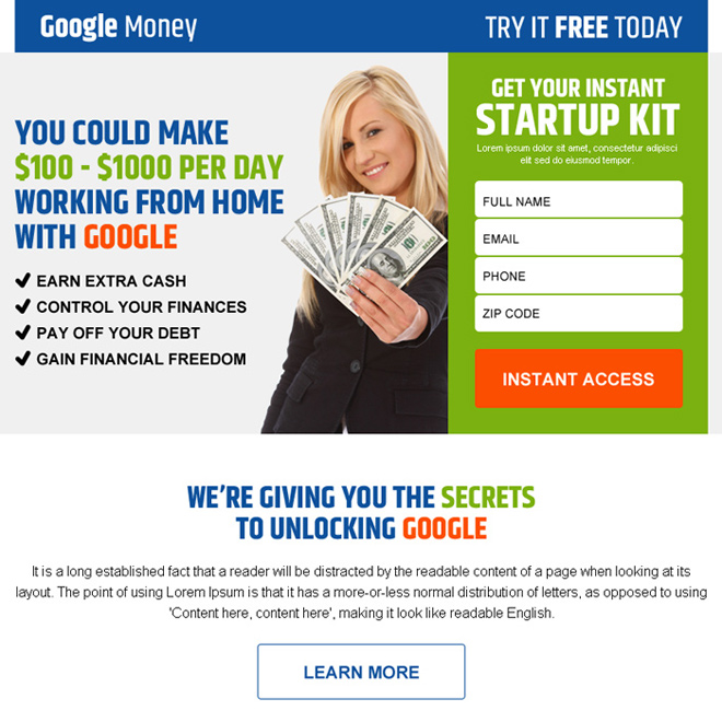 google money startup kit lead gen ppv landing page design Google Money example