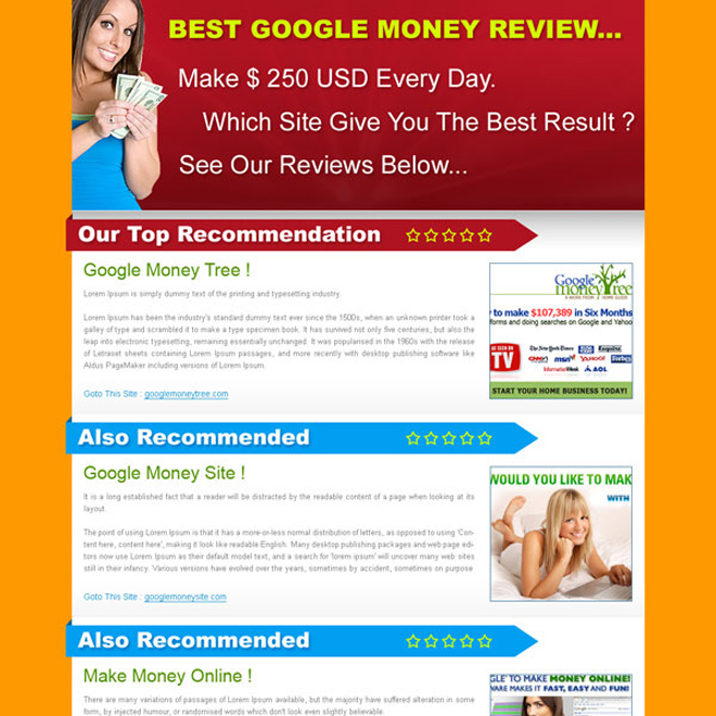 best google money review top recommendation html landing page design Review Type example