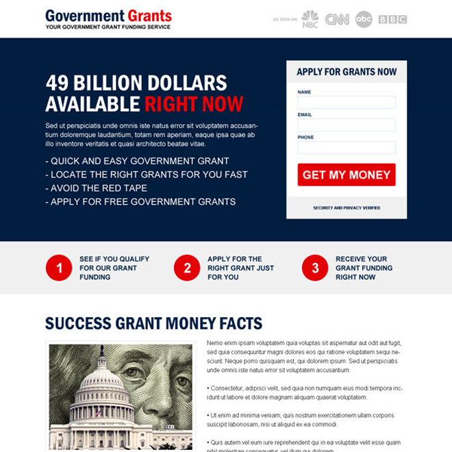 responsive government grants funding service landing page Government Grants example