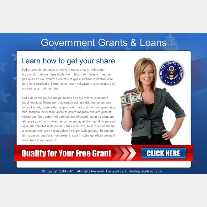 government grants and loan converting call to action ppv landing page design Government Grants example