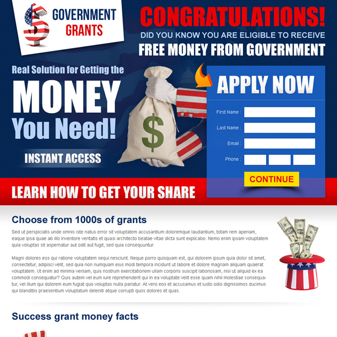 free money from government most effective landing page template Government Grants example