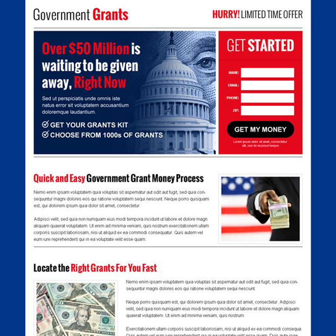 government grants small lead capture appealing landing page design to get your grant money Government Grants example