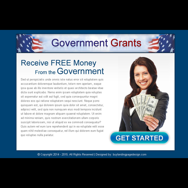 receive free money from government call to action ppv landing page design template Government Grants example