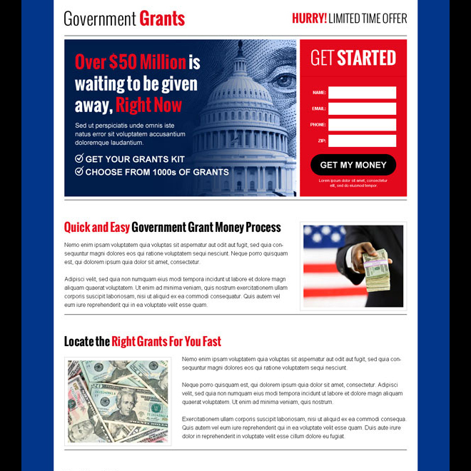 government grants money lead capture effective responsive landing page design Government Grants example