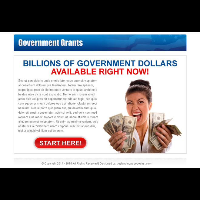 billions of government dollars available clean call to action ppv landing page design Government Grants example
