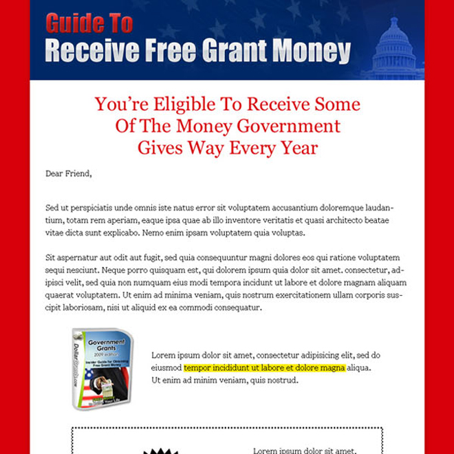 guide to receive free grant money long call to action sales page design Sales Page example